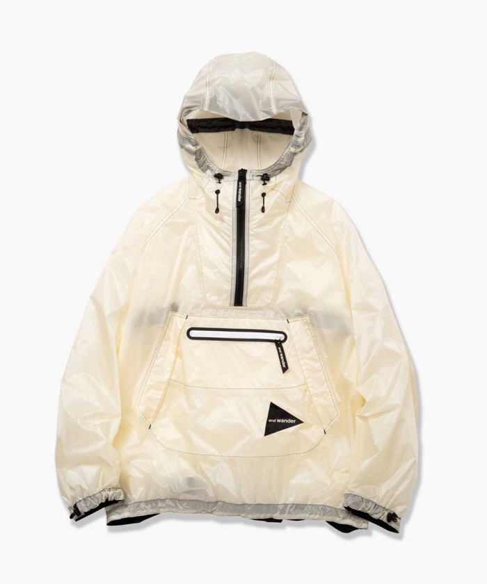 013278a41825 and wander Fly Rain Anorak Hoodie (OFF WHITE) Made in Japan