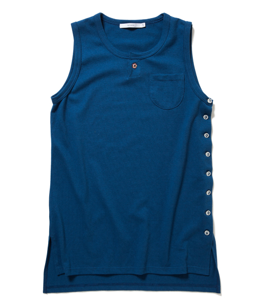 27a4f1720e49 rehacer Long Henley TunkTop (BLUE) Made in Japan